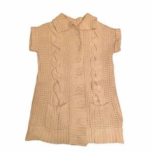 4/$40 - Cream Cable Knit Button-Up Vest - M